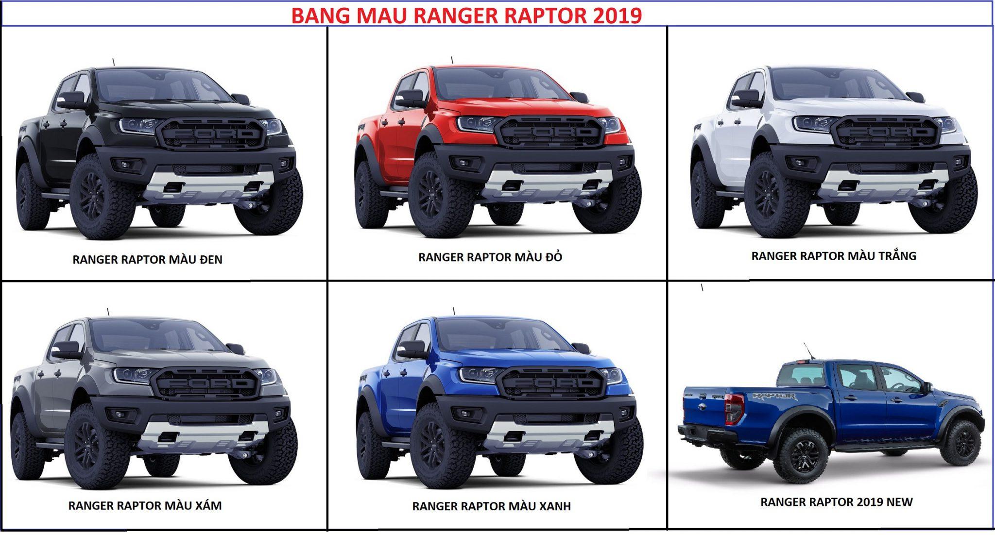 Bang mau ford ranger raptor 2019 - Ford Ranger Raptor [hienthinam]: thông số, giá xe & khuyến mãi tháng [hienthithang]