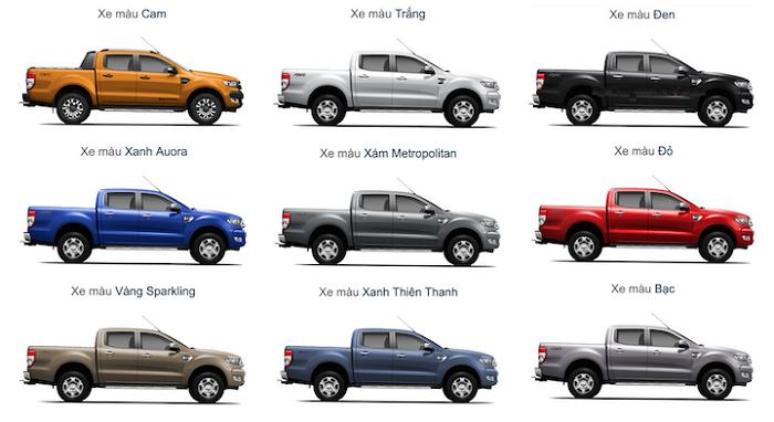 Bản màu Ford Ranger bản thường