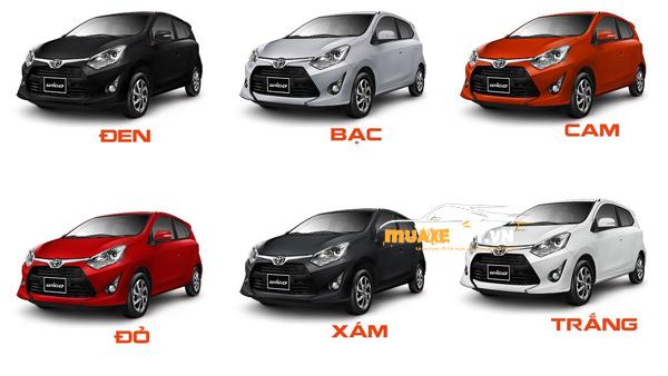 bang mau tong hop xe toyota wigo - Toyota Wigo 2021: Giá xe và khuyến mãi hấp dẫn
